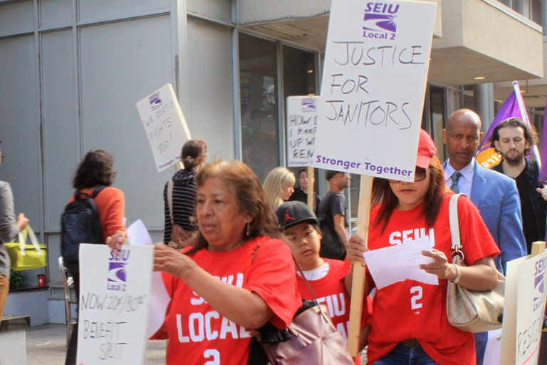 SEIU Local 2 workers picket the Icon building