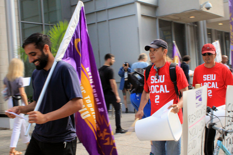 SEIU Local 2 demonstrators at the Icon building