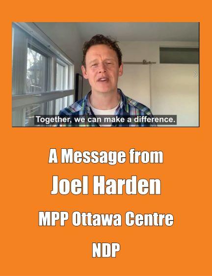 Joel Harden, Member of Provincial Parliament for Ottawa Centre, endorses J4J campaign