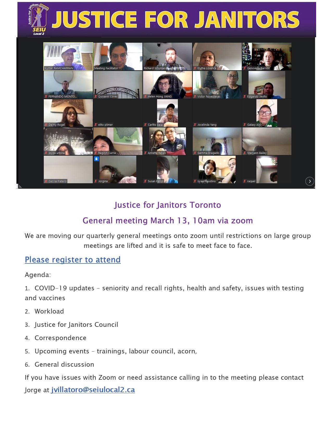 Justice for Janitors Toronto General Membership Meeting